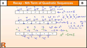 how to do nth term of a quadratic sequence gcse maths revision