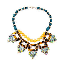 resin necklace wholesale images Wholesale blue ribbon wrapped chain resin amber geometric jpg