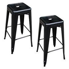 amerihome loft style 30 in stackable metal bar stool in black
