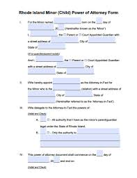 Power Of Attorney Template Florida by Rhode Island Minor Child Power Of Attorney Form Power Of