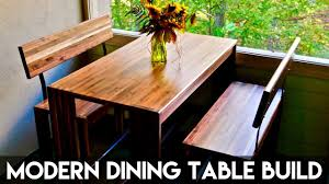modern walnut dining table and benches how to build