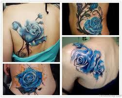 25 beautiful blue rose shoulder tattoos