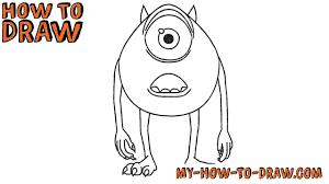 how to draw mike wazowski disney pixar monsters easy step by
