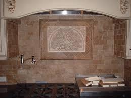 lovely travertine and glass tile backsplash home design image