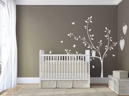 chambre bébé arbre arbre blanc wall sticker chouette et papillons stickers