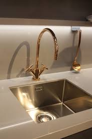 new kitchen sink styles showcased at eurocucina kitchen in motion gold faucet