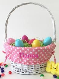 easter basket liners personalized personalized pink polka dot patterned easter basket