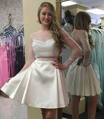 fashion two piece homecoming dress white long sleeves prom dress