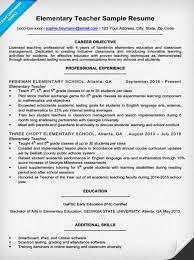 Sample Elementary Teacher Resume Career Objective For Teacher Resume Sample Resume For Fresh