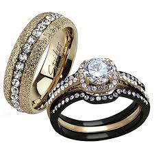 black wedding rings his and hers his hers 4 pc black gold stainless steel