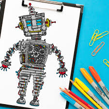 steampunk robot coloring page sarah renae clark coloring