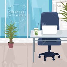 bureau d ontable interior of workspace with city view office in metropolis cup of