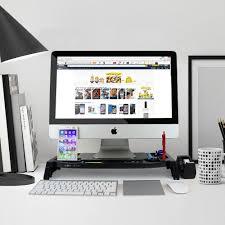 monitor stand desk organizer laptop computer storage utility