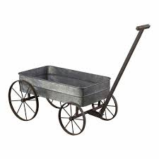 metal cart planter w handle garden wagon with wheels plant stand