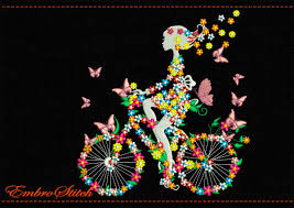 on bike in flowers and butterflies embroidery design 2