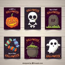 halloween cards collection vector free download
