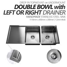 round stainless steel kitchen sink 1110mm double bowl handmade stainless steel sink with side drainer