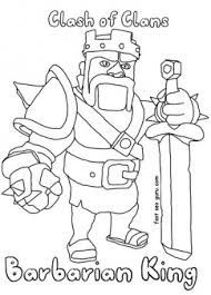 printable clash of clans barbarianking coloring pages printable