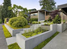 Shape Of House Various Shape Of Stone Mixed Gray Concrete Planter Box For Front