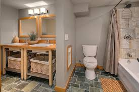 contemporary full bathroom with console sink u0026 tiled wall