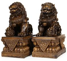 large size wealth porsperity pair of fu foo dogs guardian lion
