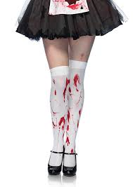 amazon com leg avenue women u0027s bloody zombie thigh high hosiery