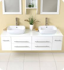 Vessel Sink Bathroom Vanity by 59 U201d Fresca Bellezza Fvn6119wh White Modern Double Vessel Sink