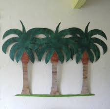 crafted handmade upcycled metal large palm tree wall