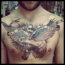 decide my future banner and flying dove tattoo on chest tattos