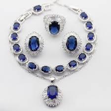 blue sapphire necklace sets images Buy oval huge 925 silver necklace pendant jpg