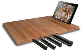 amazon com cta digital bamboo cutting board with ipad stand