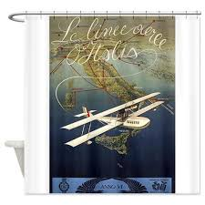 Airplane Shower Curtain Buy Cafepress Italy Airplane Travel Vintage Poster Shower Cur