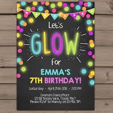 glow in the birthday party neon invitations neon glow birthday party invitations kids birthday