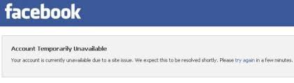 site unavailable facebook down account temporarily unavailable error causing