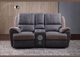canapé microfibre gris acheter votre canapé 2 places home cinéma en microfibre grise chez