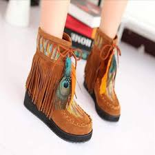 womens boots peacocks peacock design tassel ankle boots dress for less