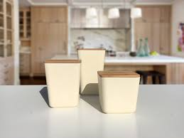 kitchen canister bamboo fiber kitchen canister 3 set with airtight bamboo lid