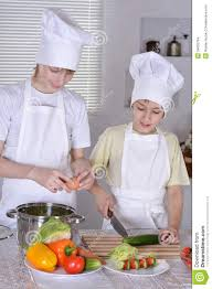 Cooks In The Kitchen by Two Cooks In The Kitchen Preparing Stock Photo Image 54603764