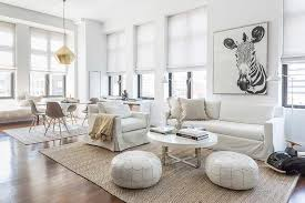 white slipcovered sofa with jute herringbone rug contemporary