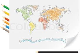 world map image drawing drawing world map by a color pencils on the white paper stock