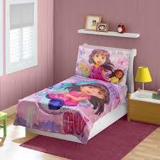 girls pink and purple bedding dora u0026 friends 3 piece toddler bedding set walmart com