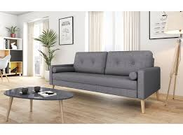 canapé droit 3 places canapé scandinave 3 places en tissu gris foncé zephyr