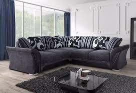 Scatter Back Cushions Designer Shannon Grey Black Fabric L Shape Corner Sofa 4 5 Seater