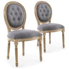 chaise capitonn e grise lot de 2 chaises médaillons capitonnées louis xvi tissu gris