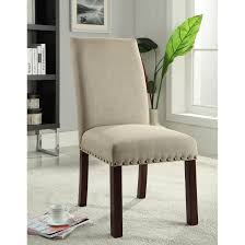 furniture linen tan nail head parsons chairs for modern dining