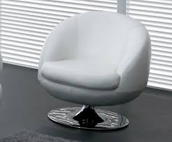 Swivel Chair Leather by White Leather Swivel Chair With Back And Oval Silver Steel Base