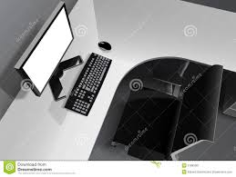 Office Chair Vector Side View Modern Office With Computer On Desk And Black Chair Stock Photo