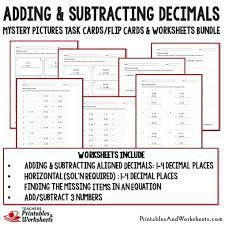 adding decimal numbers worksheet adding and subtracting decimals task cards and worksheets bundle