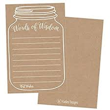 words of wisdom bridal shower 50 rustic jar words of wisdom advice cards use
