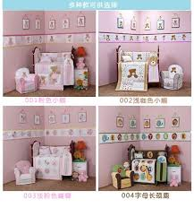 4 pcs cotton baby bedding set 3d embroidery pink red butterfly